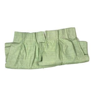 2 Vintage Green Pinch Pleat Curtains Panels Drapes